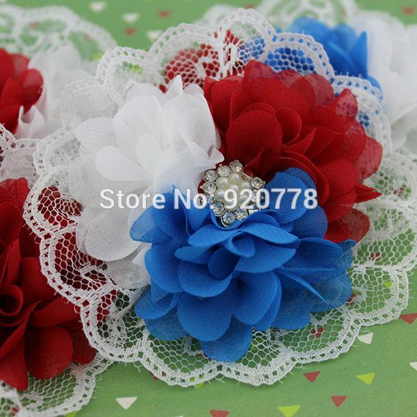 Red white blue headband 4th of July headband mini chiffon lace flower with star button headband Baby girl photo prop 120pcs/lot(China (Mainland))