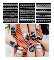 30 Sheets 3D Nail Art Sticker White Lace Flowers Decal Manicure French Style Mix Flower Decoration Stickers