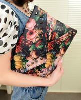 2014 Fashion PU Oil Painting Floral Rivet Embellished Envelope Design Women's Day Clutch Bag Wallet