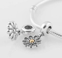 Free Shipping Authentic 925 Sterling Silver Thread Charm Bead Fits European Pandora Style Bracelet Snake Chain Flower Pendant
