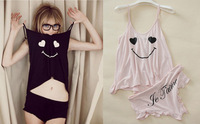 Hot~New 2014 Fashion Summer Girl Sexy Cute Smiley Sling Vest +  Purfle pants Sets Pyjamas Home Clothes Suit Pajamas Lounge