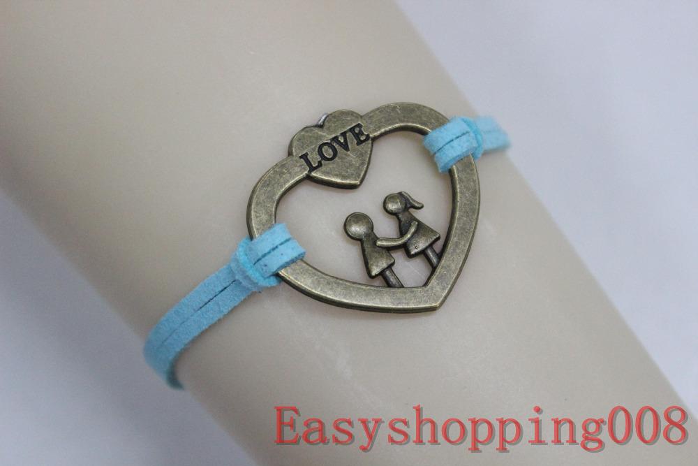 Bronze heart, boy and girl bracelet ,blue Velvet cotton rope braid bracelet,friendship bracelet(China (Mainland))