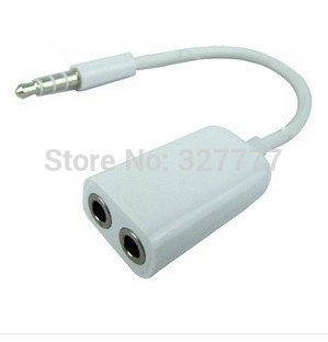 One in two couples audio line Phone a two audio 3.5 splitter with two lovers Headphones earphone cable,Free Shipping(China (Mainland))