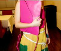 2014 Free Shipping Discounts PU Vintage Candy Color Envelope Design Women's Day Clutch Handbag Messenger Bag