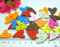 200pcs/lot  Heart Wood Buttons Mixed Cute Flatback Cartoon Wooden Buttons Wholesale