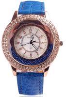 Fashion Luxury Brand Big Dial Rhineston Dress Wristwatches,Casual PU Leather Strap Women Quartz  analog Watches 5 Colors