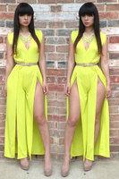 New 2014 women novelty dress V-neck unconventional lemon plus size maxi dress with belt FREE SHIPPING