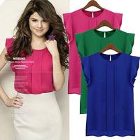Summer Women Chiffon Shirt Pure Blouses Ruffles Butterfly Sleeve Loose Chiffon Blouse Sheer Blouses Blusas Femininas 2014