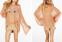 2014 New Summer Women's Hole Sweater Sequin Shell Bra Pattern in Front Mermaid Irregular Hem Loose Knitted Crochet Sweater Tops