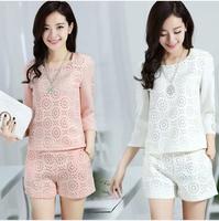 2014 New Fashion Women's Suits Spring and Summer Velvet chiffon Three Quarter Sleeve Female Small set