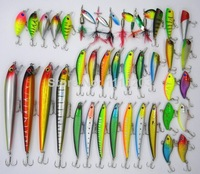 40pcs/set Mixed 7 style fishing lures set Minnow/ Crankbait /Spinner bait /Swimbait/ Vib /wobbler artificial bait pesca tackle