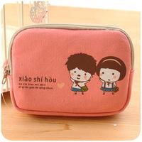 Wholesale women creative housekeeper designer double zipper canvas cute small coin purse kawaii phone bag dropship free shipping