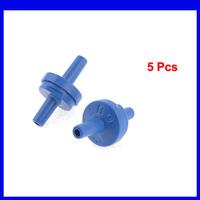 Aquarium Blue Plastic Air Pump Double Head Check Valves 5pcs