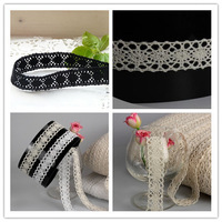 new style 50 yards 2cm width in black/white/beige color beautiful origional wave cotton/cluny lace trim wholesale/good quality