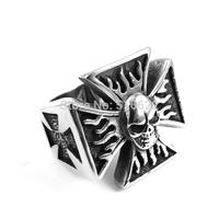 Fire Flame SKULL Iron Man 316L Stainless Steel Biker Ring for Harley Edwin Biker Cross Cast Ring
