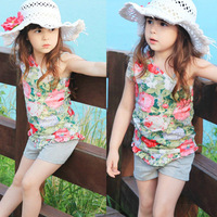 New 2014 summer flower girls clothing baby child oblique spaghetti strap vest shorts set Free shippin