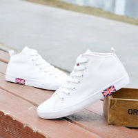 Women's Breathable Canvas Shoes Female White Candy Color High Torx Flag Casual Nice Design Skateboarding  Single Shoes British