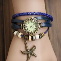 100% GENUINE Leather Hand Knit Vintage Strap Watches,bracelet Wristwatches Starfish Pendant, 2B205