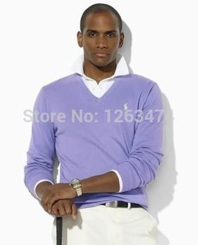 Бесплатный бренд доставка новый Polo V -образным вырезом шерстяной свитер вязаный свитер мужской свитер рукав сплошной цвет 17