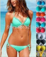 2014 VSBeach swimwear bikini women biquini brazil push up swimwear tankini top trikini bathing set color swimsuit free shipping