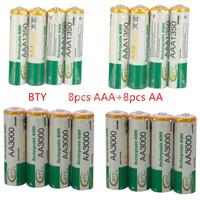 Free shipping BTY 8 pcs 1.2v AA 3000mAh+8 pcs AAA 1350mAh Rechargeable Recharge Ni-MH NiMH Battery + Free Shipping