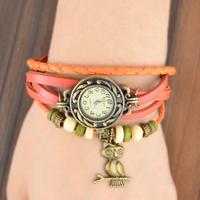 New Arrivals High Quality Women Genuine Leather Vintage Watch,Owl Pendant Bracelet Wristwatches 2B207