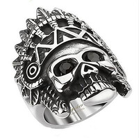 Stainless Steel Apache Headress Skull with Black Gemmed Eyes Wide Cast Ring