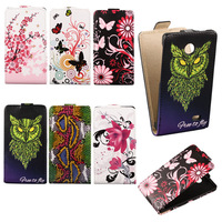 New Arrival 2014 Snakeskin Leather Butterfly Flower Design Case For Nokia X X Dual SIM A110 Cell Phone Owl Up and down Flip