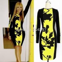 New Fashion Autumn Womens Celeb O-Neck Long Sleeve Contrast Floral Print Stretch Bodycon Midi Dress Plus Size