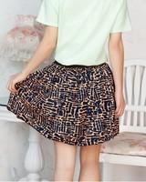 Women 2014 SUMMER new pleated skirt high waist IRREGULAR PATTERN skirts Lovely small size Free Shipping EAST KNITTING SW--046