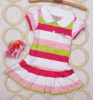New arrival summer baby girls Short  striped sport dress  Hubble bubble sleeve size 4 6 8 10 12