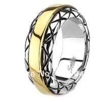 9MM High Polished Stainless Steel Ring with Gold Plated Center and Checkered Pattern Design on Edges