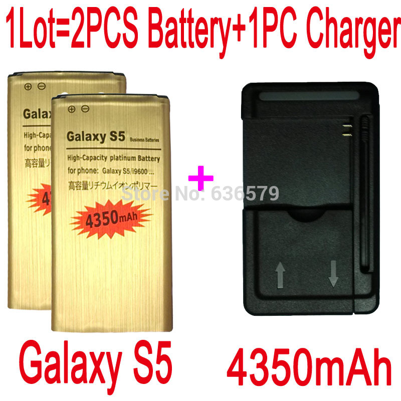 1LOT=1PC Universal charger+2PCS 4350mAh Battery For Samsung Galaxy S5 I9600 G900F G900H G900P Batterie Batteria Bateria AKKU PIL