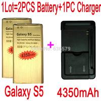 1LOT=1PC Universal charger+2PCS 4350mAh Battery For Samsung Galaxy S5 I9600 G900F G900H G900P Batterie Batteria Bateria AKKU PIL