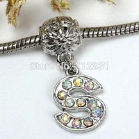 Sale 20 pcs AB Crystal Alphabet Rhinestone Letter S Charms Pendants European Beads Fits Bracelet DIY Jewelry, FREE SHIPPING