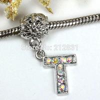 Sale 20 pcs AB Crystal Alphabet Rhinestone Letter T Charms Pendants European Beads Fits Bracelet DIY Jewelry, FREE SHIPPING