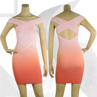 2014 new Gorgeous ombre women fashion criss cross HL bandage dress sexy hollow out party clothes gradient color pink orange
