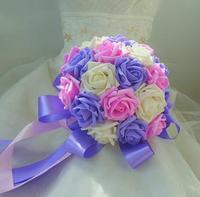 Supernova Sale!Free shipping bridesmaid Hand Flower/Wedding Throw Bouquet/Photography Props/Simulation Flower 22cm diameter