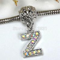 Sale 20 pcs AB Crystal Alphabet Rhinestone Letter Z Charms Pendants European Beads Fits Bracelet DIY Jewelry, FREE SHIPPING