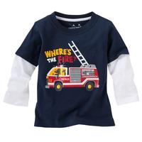 boy cartoon cotton T-shirt-Fire engine