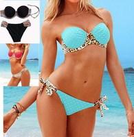Leopard Wrap Halter polka dot bikinis sets women sexo biquini swimwear beachwear Large size blue bandeau padded female swimsuit