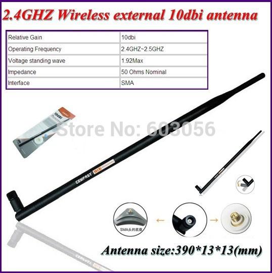 High quality SMA Interface 2.4GHZ Wireless 10dbi omnie xternal antenna 50 Ohms Nominal Impedance 3pcs Free shiping(China (Mainland))
