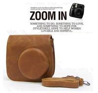 Brown Leather Camera Case Bag Cover For Fujifilm Fuji Instax Mini8 Mini 8 8s + Free shipping
