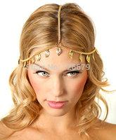Gold Plated Leaf Drop Charm Hair Chain Headband Accessory Headpiece Punk Boho Head Chain Hair Jewelry