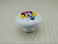 Fashion 10pcs Ceramic Minnie Handles White mouse Children Modern Mice Kitchen Drawer Cabinet Door Knobs Pulls