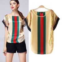 SX096 New 2014 women clothing summer European fashion color stripe round neck chiffon blouse / shirt tops size SL