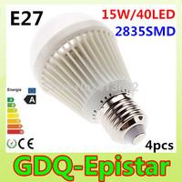 Free shipping 4x Bubble Ball Bulb 2835SMD 40LED AC85-265V15W E27 High power LED Goble Light Bulbs Lamp White/Warm White