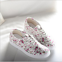 Korean small floral shoes spell color with flat shoes women casual sport shoes sneakers for women