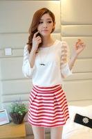 2014 New Fashion Summer Organza Patchwork Stripe Three quarter sleeve Chiffon Female Suits