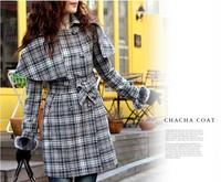 2014 Autumn Spring Plus Size 5XL  Women Clothing Wool Overcoat outerwear Coats Woolen Cape Plaid Big Size 2XL 3XL 4XL XXXXXL